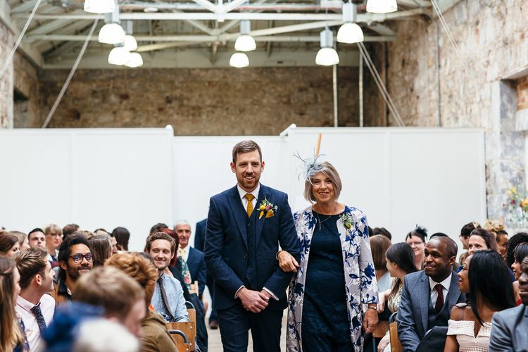 Wedding Ceremony | Groom in Next Navy Wool Suit | Mother of the Groom | Relaxed Industrial Wedding at Ocean Studios, Plymouth | Freckle Photography