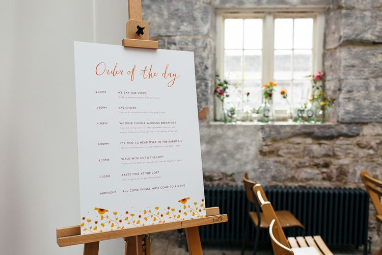 Order of the Day Wedding Sign | Relaxed Industrial Wedding at Ocean Studios, Plymouth | Freckle Photography
