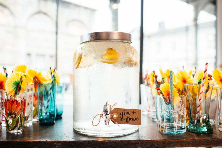 Gin & Tonic Drinks Dispenser | | Relaxed Industrial Wedding at Ocean Studios, Plymouth | Freckle Photography