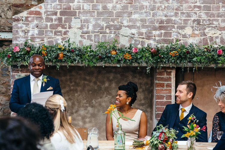 Wedding Speeches | Fireplace Flowers | | Relaxed Industrial Wedding at Ocean Studios, Plymouth | Freckle Photography
