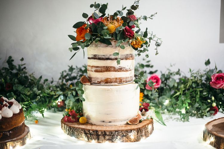 Semi Naked Wedding Cake | Floral Cake Topper | Relaxed Industrial Wedding at Ocean Studios, Plymouth | Freckle Photography