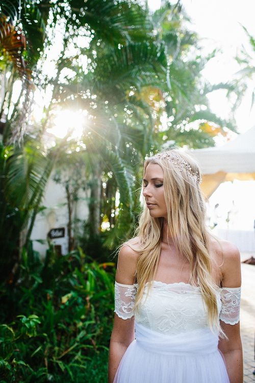 Bride in off the shoulder Grace Loves Lace Sally Gown