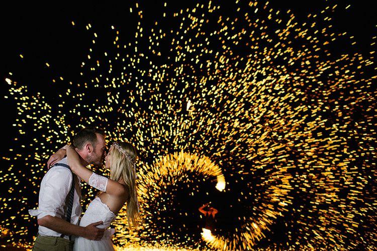 Bride & Groom Fireworks Portrait