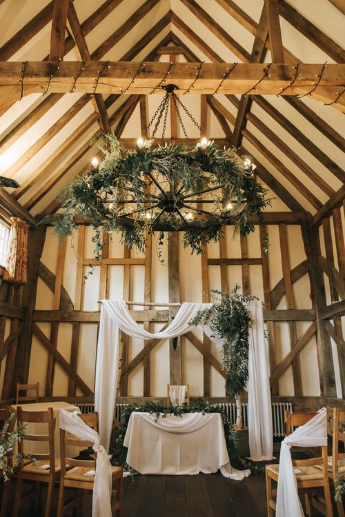 Aisle & Altar Style | Greenery Hoops & Drapes | Rustic Barn Wedding Reception at Gate Street Barn, Surrey | Kirsty MacKenzie Photography