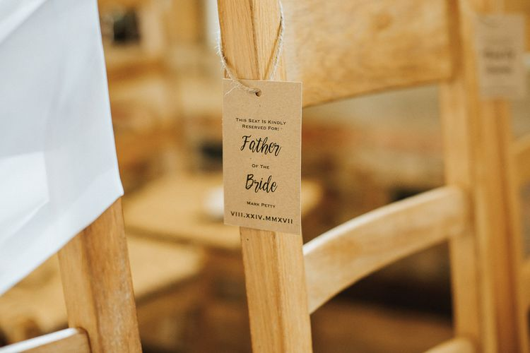 Craft Paper Tags | Aisle & Altar Style | Greenery Hoops & Drapes | Rustic Barn Wedding Reception at Gate Street Barn, Surrey | Kirsty MacKenzie Photography