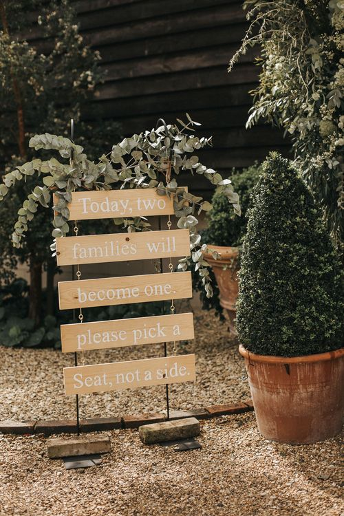Wooden Wedding Ceremony Sign | Rustic Barn Wedding Reception at Gate Street Barn, Surrey | Kirsty MacKenzie Photography
