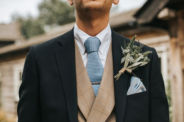 Grooms Buttonhole | Gresham Black Wedding Suit | Rustic Barn Wedding Reception at Gate Street Barn, Surrey | Kirsty MacKenzie Photography