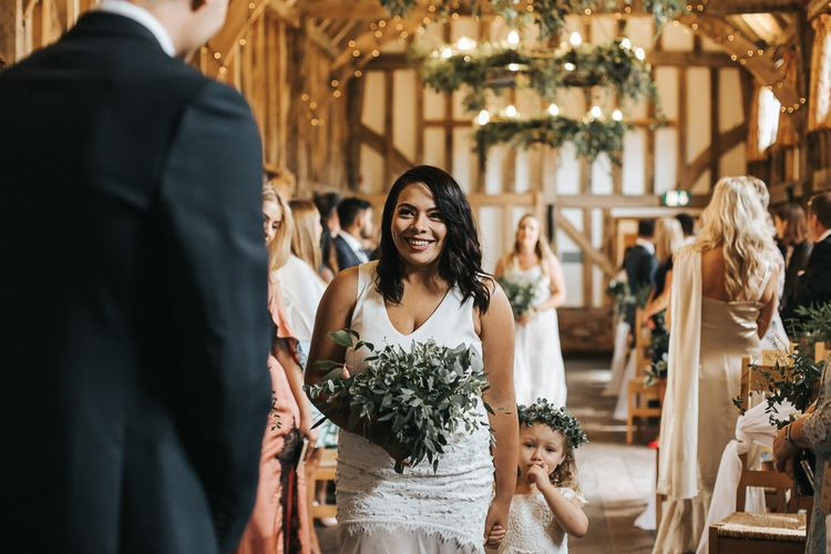 Wedding Ceremony | Bridesmaid Entrance | Rustic Barn Wedding Reception at Gate Street Barn, Surrey | Kirsty MacKenzie Photography