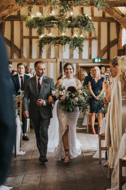 Wedding Ceremony | Bridal Entrance in Grace Loves Lace Gown | Rustic Barn Wedding Reception at Gate Street Barn, Surrey | Kirsty MacKenzie Photography