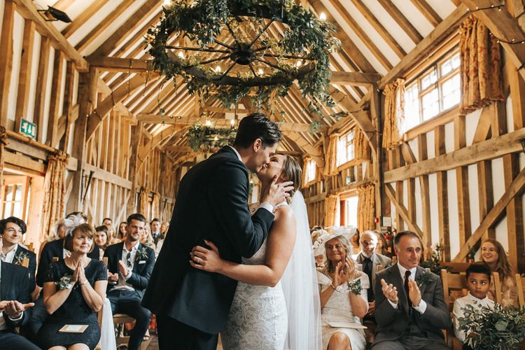 Wedding Ceremony | Bride in Grace Loves Lace Gown | Groom in Gresham Blake Suit | Rustic Barn Wedding Reception at Gate Street Barn, Surrey | Kirsty MacKenzie Photography