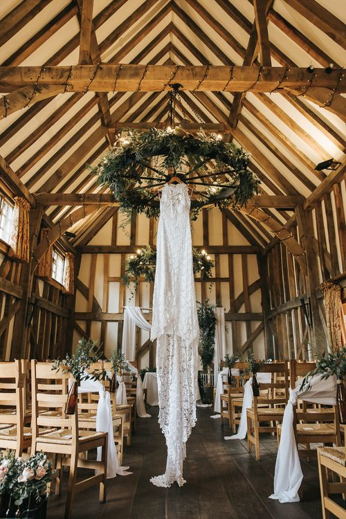 Grace Loves Lace Wedding Dress | Rustic Barn Wedding Reception at Gate Street Barn, Surrey | Kirsty MacKenzie Photography
