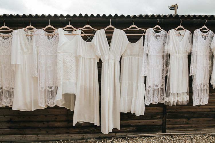 Different White High Street Bridesmaid Dresses | Rustic Barn Wedding Reception at Gate Street Barn, Surrey | Kirsty MacKenzie Photography