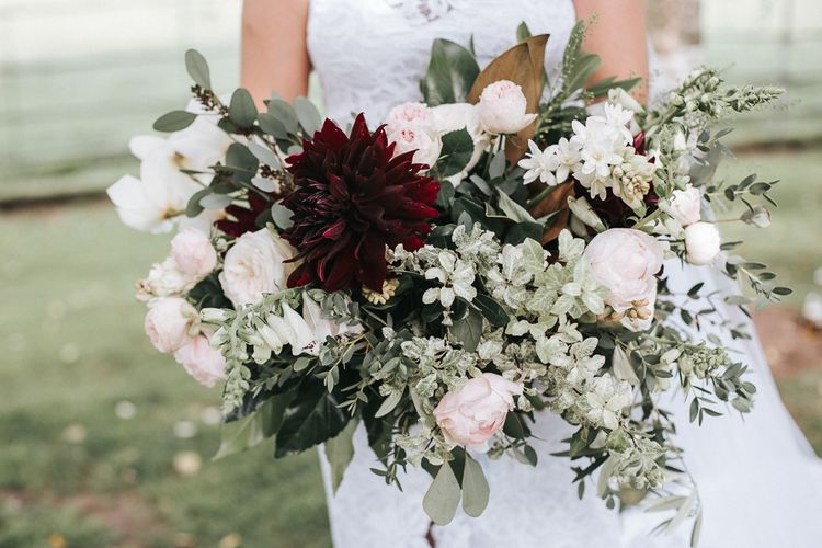 Oversized Romantic Bridal Bouquet | Rustic Wedding at Gate Street Barn, Surrey | Kirsty MacKenzie Photography