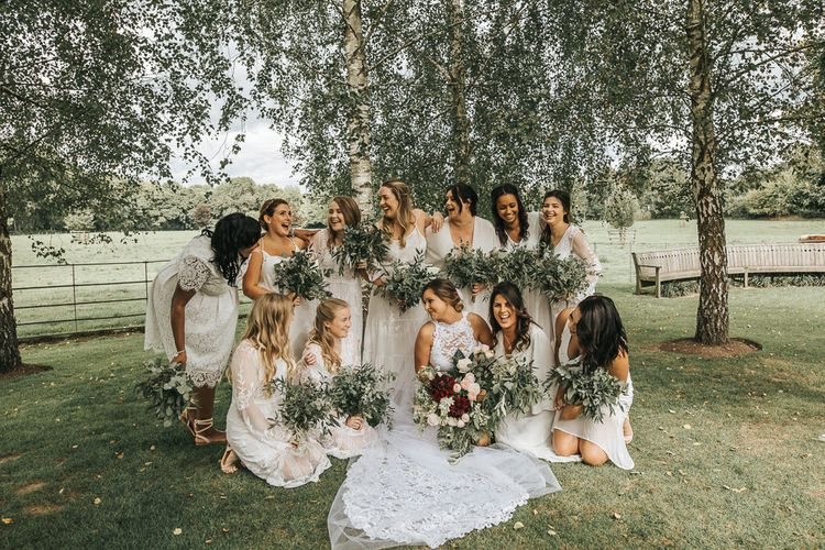 Bridal Party | Bridesmaids in Different White Dresses | Rustic Wedding at Gate Street Barn, Surrey | Kirsty MacKenzie Photography
