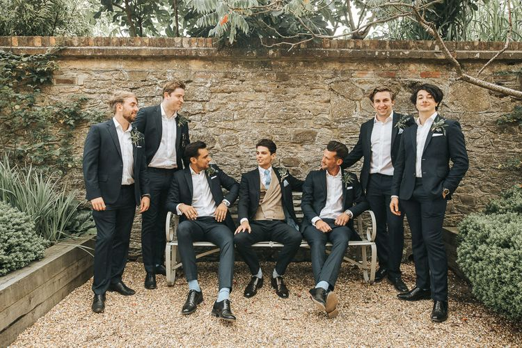 Groomsmen in Grasham Blake Suits | Rustic Wedding at Gate Street Barn, Surrey | Kirsty MacKenzie Photography