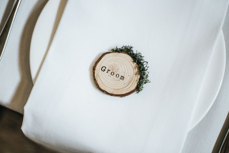Tree Slice Place Name Setting | Rustic Barn Wedding Reception at Gate Street Barn, Surrey | Kirsty MacKenzie Photography