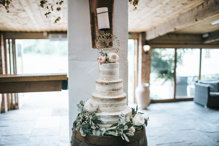 Homemade Semi Naked Wedding Cake | Rustic Barn Wedding Reception at Gate Street Barn, Surrey | Kirsty MacKenzie Photography