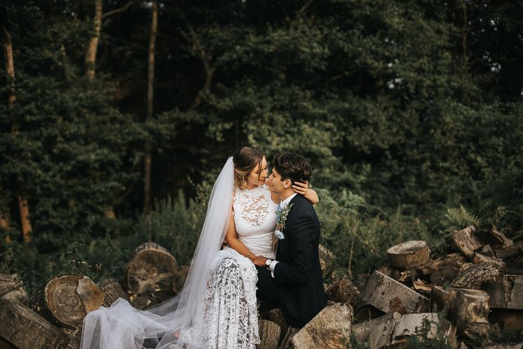 Bride in Grace Loves Lace Gown | Groom in Gresham Blake Suit | Rustic Barn Wedding Reception at Gate Street Barn, Surrey | Kirsty MacKenzie Photography