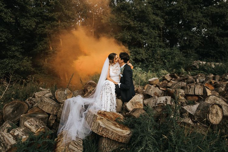 Smoke Bomb, Flare Portrait | Bride in Grace Loves Lace Gown | Groom in Gresham Blake Suit | Rustic Barn Wedding Reception at Gate Street Barn, Surrey | Kirsty MacKenzie Photography