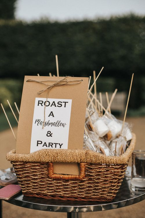 Roasted Marshmallows | Bride in Grace Loves Lace Gown | Groom in Gresham Blake Suit | Rustic Barn Wedding Reception at Gate Street Barn, Surrey | Kirsty MacKenzie Photography