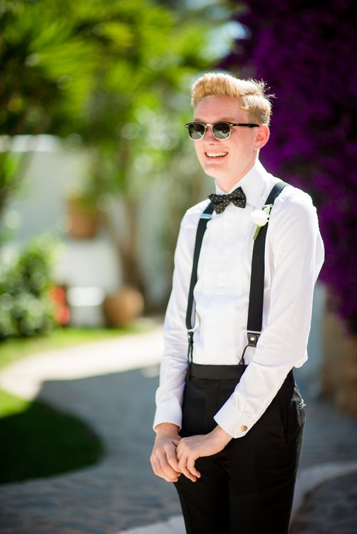 Groomsman in Braces & Bow Tie | Outdoor Ibiza Destination Wedding | Gypsy Westwood Photography | Infin8 Film