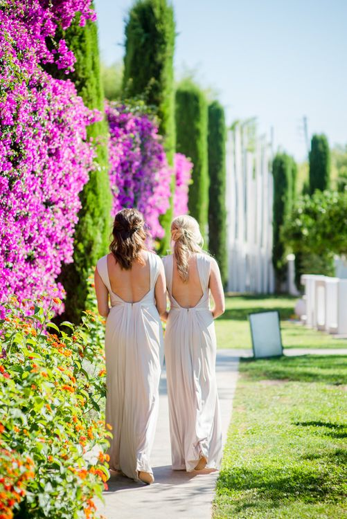 Bridesmaids in Blush Kelsey Rose Dresses | Outdoor Ibiza Destination Wedding | Gypsy Westwood Photography | Infin8 Film