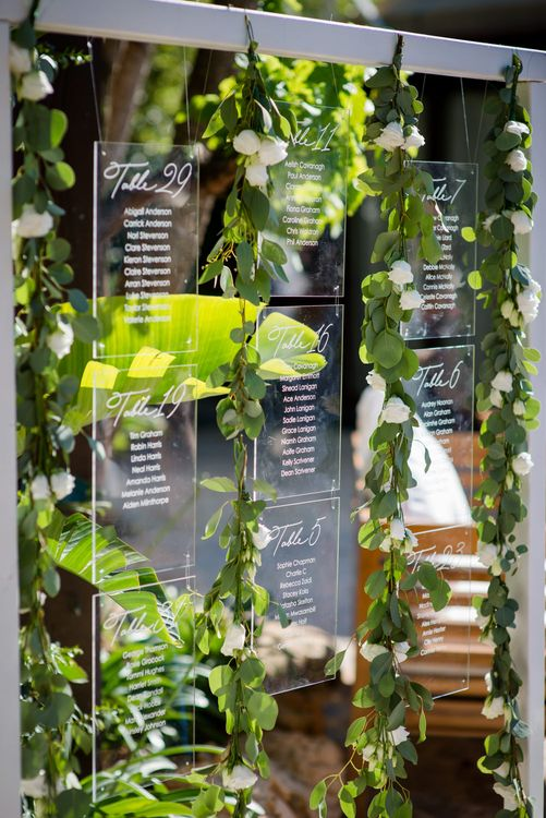 Perspex Table Plan | Outdoor Ibiza Destination Wedding | Gypsy Westwood Photography | Infin8 Film