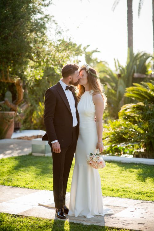 Bride in Suzanne Neville Wedding Dress | Groom in Reiss Suit | Outdoor Ibiza Destination Wedding | Gypsy Westwood Photography | Infin8 Film