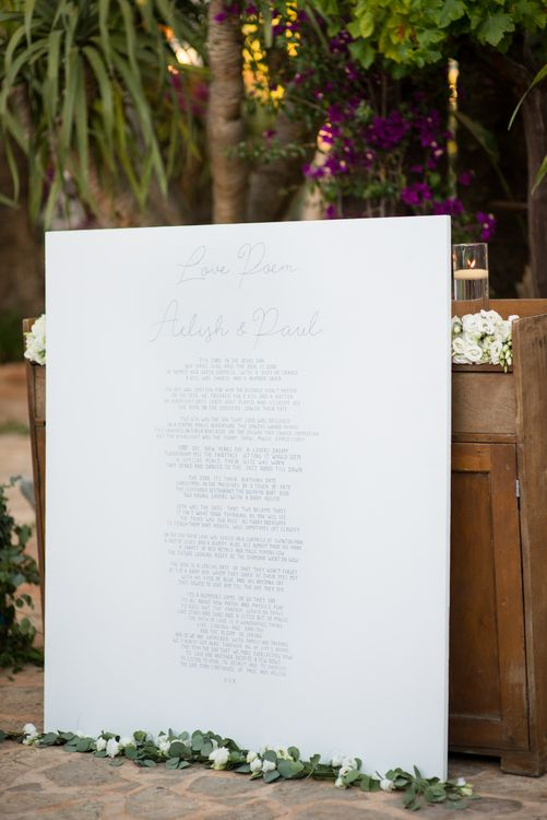 Wedding Sign | Outdoor Ibiza Destination Wedding | Gypsy Westwood Photography | Infin8 Film