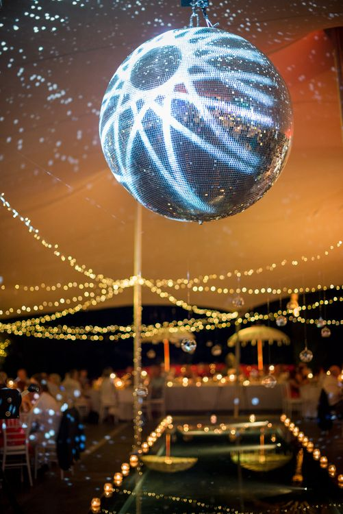 Glitter Ball Wedding Lights | Outdoor Ibiza Destination Wedding | Gypsy Westwood Photography | Infin8 Film