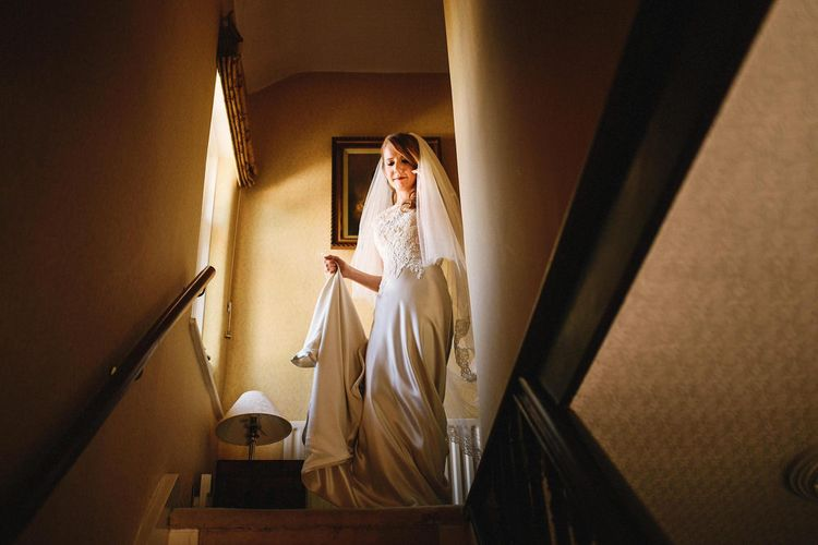 Bride in Mocha Justin Alexander Wedding Dress | Andy Gaines Photography