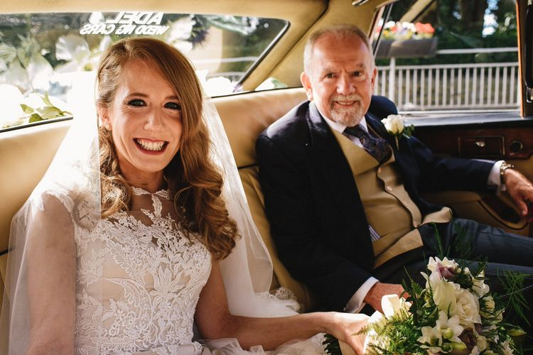Bride in Lace & Satin Justin Alexander Wedding Dress with Father of the Bride | Andy Gaines Photography