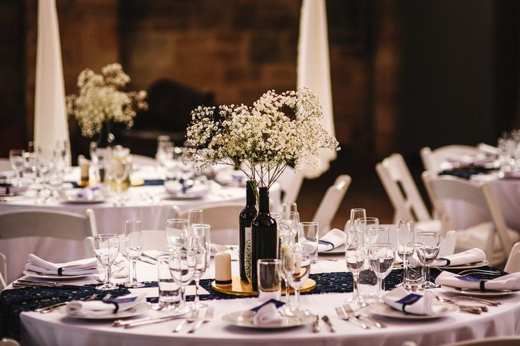 Gypsophila in Bottles Table Centrepieces | Andy Gaines Photography