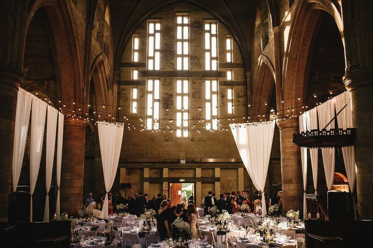 Draped Left Bank, Derelict Church Wedding Venue in Leeds | Andy Gaines Photography
