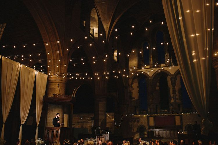 Drapes & Festoon Lights in Left Bank, Derelict Church Wedding Venue in Leeds | Andy Gaines Photography