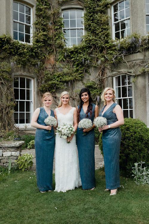 Bridesmaids in Damsel in a Dress | Lace Lusan Mandongus Wedding Dress | English & Asian Wedding at Northbrook Park | Claudia Rose Carter