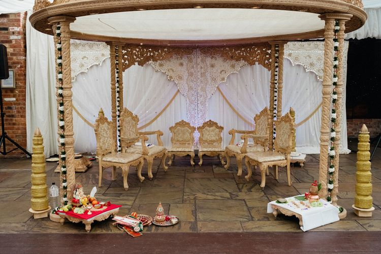 Hindu Wedding Ceremony Altar | English & Asian Wedding at Northbrook Park | Claudia Rose Carter