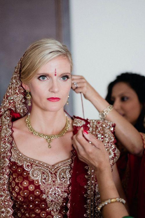 Bride in Traditional Indian Sari | English & Asian Wedding at Northbrook Park | Claudia Rose Carter