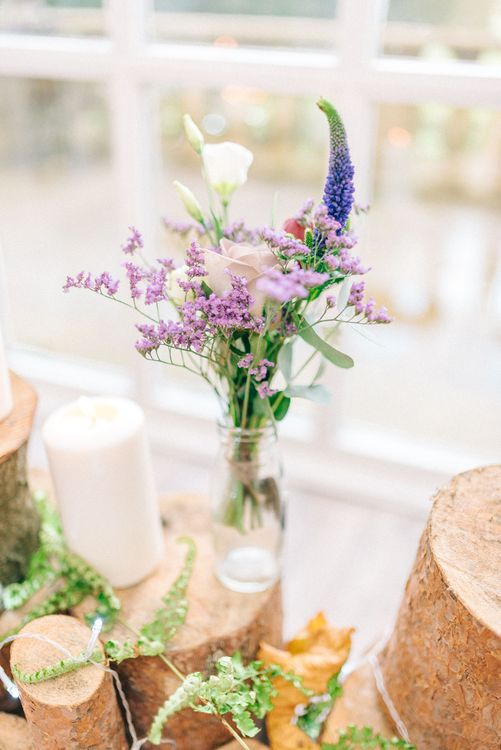 Rustic Log Slice & Jam Jar Wedding Decor