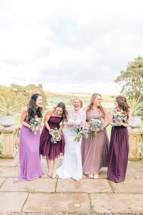 Bridesmaids In Purple Watters & Kelsey Rose Dresses