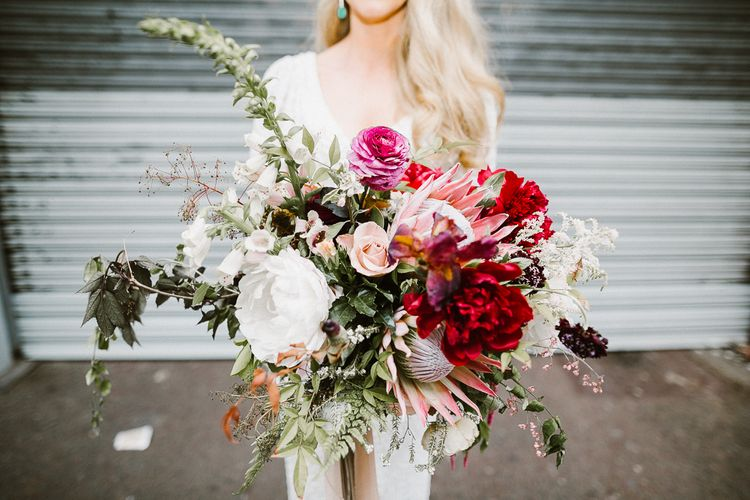 Organic Forest Green, White & Berry Toned Bridal Bouquet