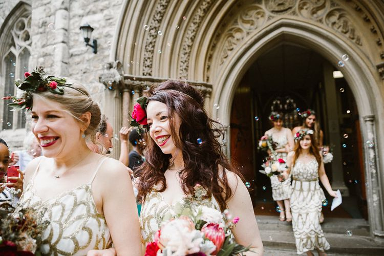 Glamorous Bridesmaids in Embellished Gold Virgos Lounge Bridesmaid Dresses & Flower Crowns