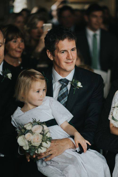 Groom & Flower Girl | Wedding Ceremony | Errol Park Wedding Venue, Scotland | Jen Owens Images