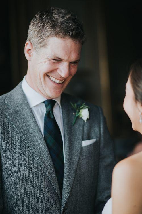 Groom in Suit Supply | Wedding Ceremony | Errol Park Wedding Venue, Scotland | Jen Owens Images
