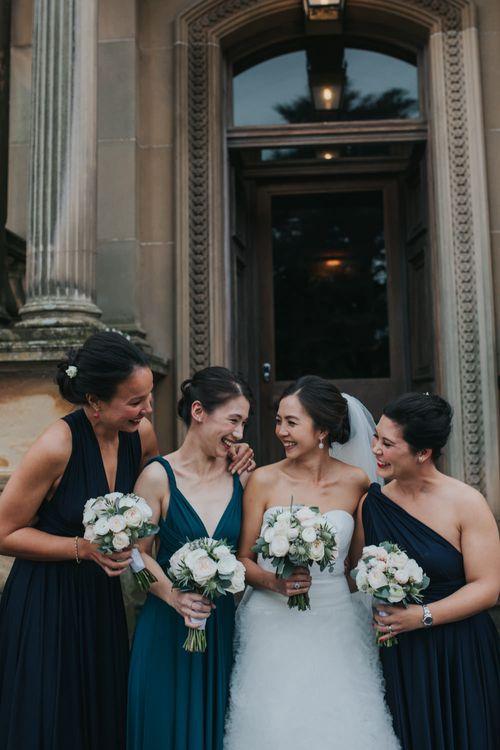 Bride in Pronovias Gown | Bridesmaids in Twobirds Dresses | Errol Park Wedding Venue, Scotland | Jen Owens Images