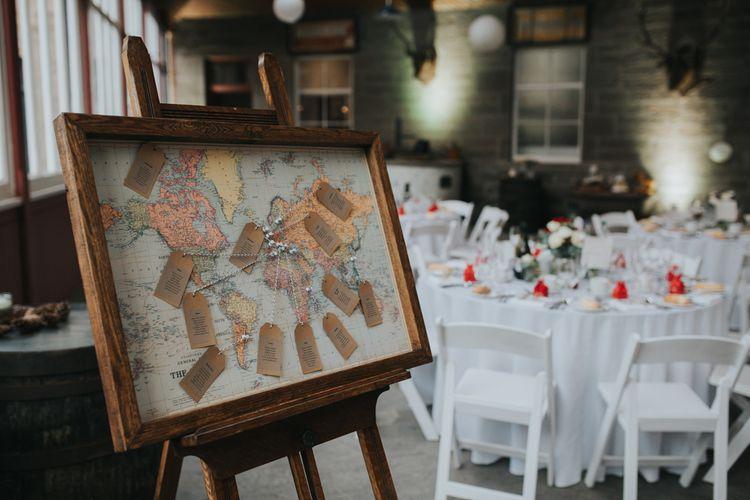 World Map Table Plan | Errol Park Wedding | Jen Owens Images