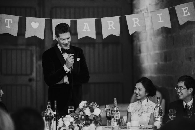Speeches | Bride in Pronovias | Groom in Suit Supply | Errol Park Wedding | Jen Owens Images
