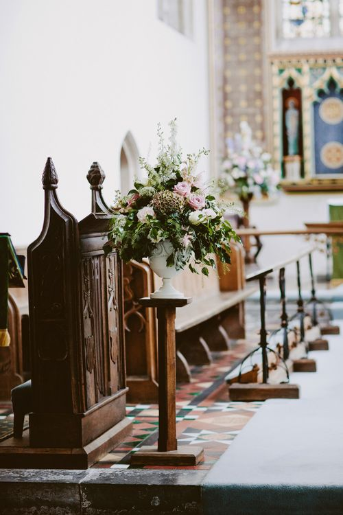 Church Floral Arrangement | David Jenkins Photography | Confetti & Silk Films