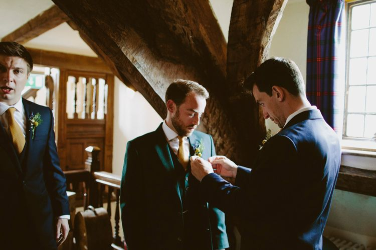 Groom in Donegal Green Wool Three Piece Suit from Beggars Run | David Jenkins Photography | Confetti & Silk Films