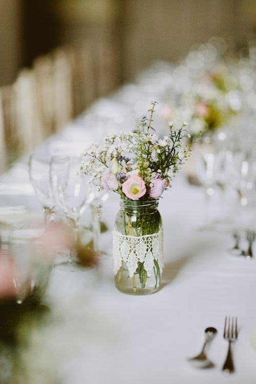 Flower Stems in Jam Jars Covered in Lace | David Jenkins Photography | Confetti & Silk Films